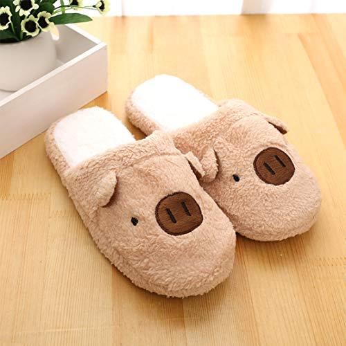 Zapatillas de Estar por Casa Mujer Hombre Pantuflas Cálido Interior al Aire Libre Forro de Felpa Pantuflas Antideslizantes