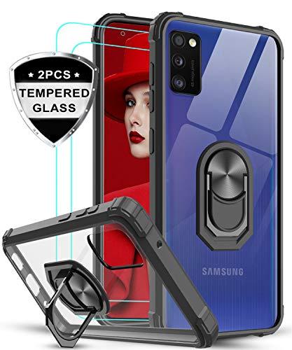 LeYi Funda Samsung Galaxy A41 con [2-Unidades] Cristal Vidrio Templado,Transparente Carcasa con 360 Grados iman Soporte Silicona Bumper Antigolpes Armor Case para Movil A41,Clear Negro