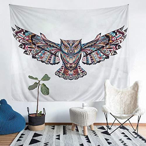 Tapiz para colgar en la pared, diseño de búho, para niños, niñas, bohemio, estilo exótico, tapiz de pared, diseño étnico, búho, arte de pared para dormitorio, sala de estar, grande 132 x 192 cm