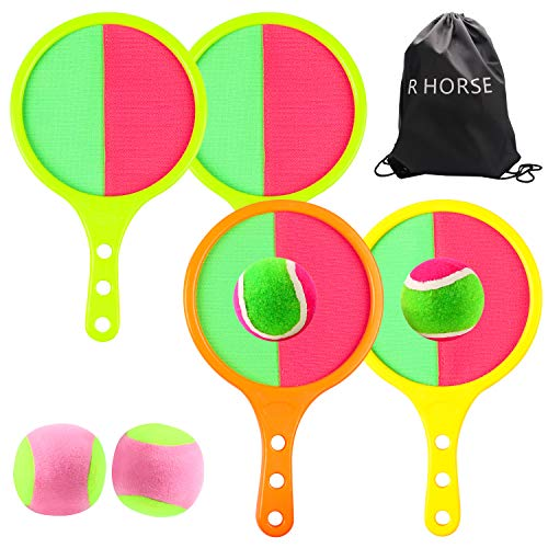 9 Pcs Paddle Catch Ball Set Toss and Catch Ball Game Set 4 Self-Stick Paddles 4 Balls with Storage Bag Summer Outdoor Indoor Paddle Ball Game Sport Activities for Adults and Kids