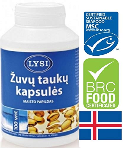Lysi levertran 100 capsules Pure Clean Geproduceerd in IJsland, Fish Cod Liver Oil