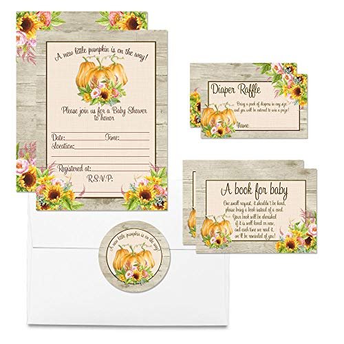 """Deluxe Fall Sunflower Floral Pumpkin Baby Shower Party Bundle, Includes 20 each of 5""""x7"""" Fill In Invitations, Diaper Raffle Tickets, Bring a Book Cards & 2"""" Thank You Favor Stickers w/ Envelopes"""