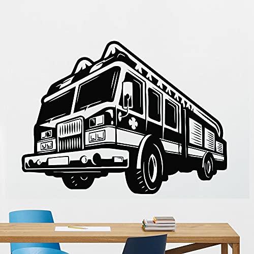 Calcomanía de pared de camión de bomberos motor bombero bombero vinilo moderno pegatina de pared decoración del hogar papel tapiz Mural A6 59x42cm