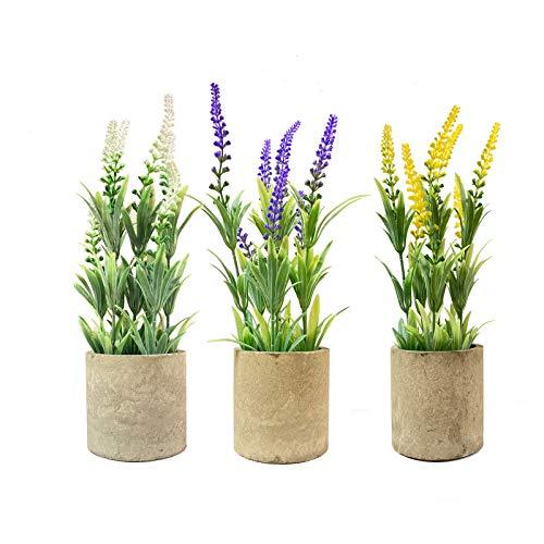 3 pezzi piccoli vasi di piante artificiali in vaso verde lavanda piante finte in plastica per la casa da tavolo ufficio fattoria bagno cucina interni esterni arredamento