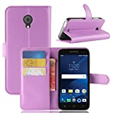 for Alcatel IdealXCITE Verso CameoX 5044R Wallet Case, Alcatel U50 5044S 5' Flip Leather Phone Cover with Card Slots and Touch Screen Stylus Pen. (Purple)