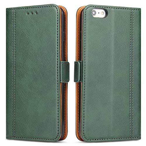 Bozon Handyhülle für iPhone 6 Plus/ 6S Plus, Lederhülle mit Kartenfächer, Schutzhülle mit Standfunktion, Grün