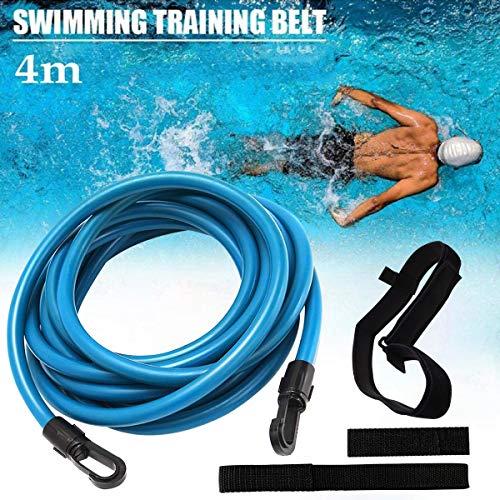 Frusde Schwimmtraining Gürtel, 4M Schwimmtraining elastischen Seil Set, Erwachsene Kinder Pool Schwimmgurt Schwimmwiderstand Gürtel Swim Bungee Cords Einstellbare Resistance Bands Elastic Rope