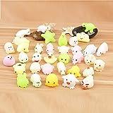 4 juguetes para aliviar el estrés, lindo gato mochi blando, curativo, divertido juguete kawaii, alivio del estrés, decoración para teléfono celular (5 unidades, aleatorio)