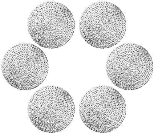 GlobalDream Untersetzer Teller, 6 Stück Untersetzer Gläser Tischset Rund Vinyl Hohl Platzsets Abwischbar PVC Tischuntersetzer für Küche, Zuhause, Speisetisch (Silber, 10 cm, C01)
