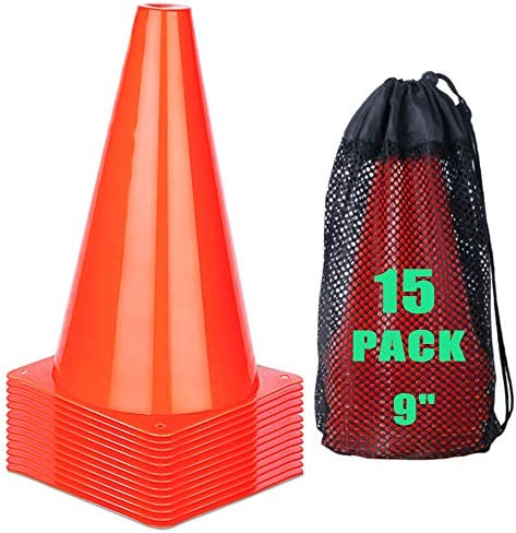 cyrico 9 Inch Sports Cones Soccer Training Traffic Cones Agility Field Parking Safety Plastic product image