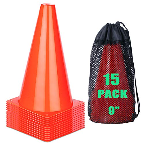 cyrico 9 Inch Sports Cones, Soccer Training Traffic Cones Agility Field Parking Safety Plastic Cones for Football Basketball Drills Indoor Outdoor Games Activity or Events - Set of 15