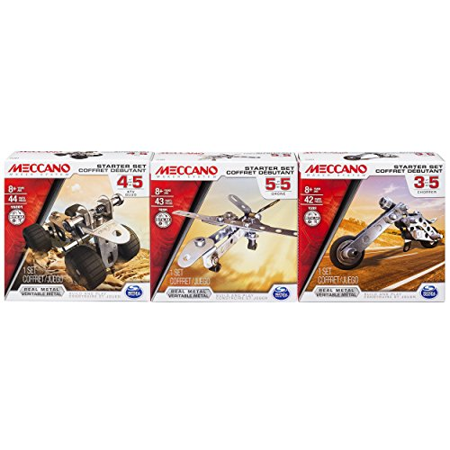 Meccano Starter Set Bundle, ATV, Chopper and Drone, Set of 3