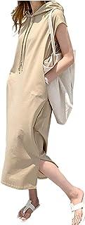 [ライオンガーデン] フード付き 半袖 ワンピース ゆったり カジュアル スポーティー M ~ XL レディース