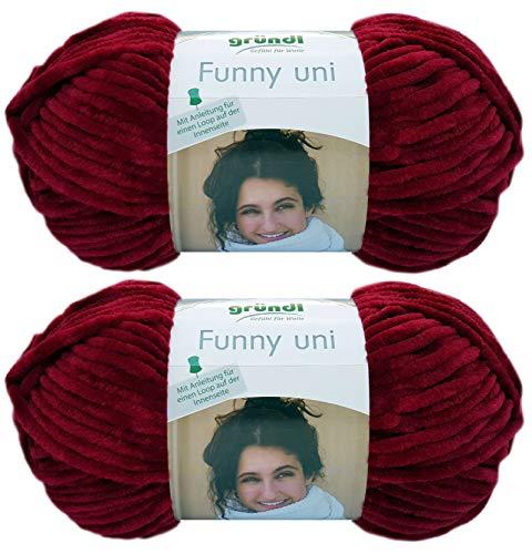 2x100 Gramm Gründl Funny Uni Softgarn SB Pack Babygarn inkl. Anleitung für EIN Funny Bunny (23 Bordeaux)