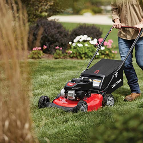 Craftsman M105 140cc Gas Powered Push 21-Inch 3-in-1 Lawn Mower with Bagger, 1-in, Liberty Red