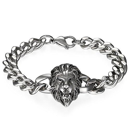 JewelryWe Schmuck Herren Biker Armband, Gotik Punk Rock Löwe Panzerkette Armkette Armreif, Edelstahl, Silber
