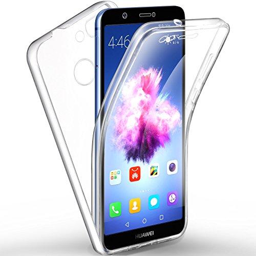 """Leathlux Custodia Huawei P Smart Cover Trasparente Silicone Fronte e Retro Plastica, Protezione Completa Morbido TPU Anteriore e Posteriore di Duro PC Shell Cover per Huawei P Smart/Enjoy 7S 5.65"""""""