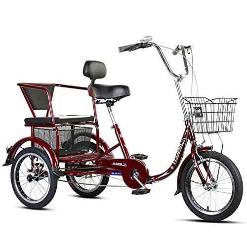 HOUSEHOLD Triciclo para Adultos De 16 Pulgadas, Pedal De Ancianos 3 Bici Rueda con Cesta, Asiento Ajustable De Una Sola Velocidad Bicicleta Triciclo Crucero, para Hacer Ejercicio, IR De Compras