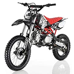 "125cc Dirt Bike,4 Stroke, Single Cylinder 4 Speed Manual Clutch, Front/Rear Hydraulic Disc Brakes Front/Rear 17""/14'' Wheels, Seat Height 36.5"" Air Cooled,Kick Start,6.5 kw/7500 rpm Max Power"