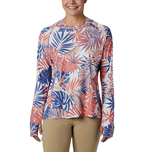 Columbia Damen Super Tidal Tee Hoodie Lychee Tropical Print Small