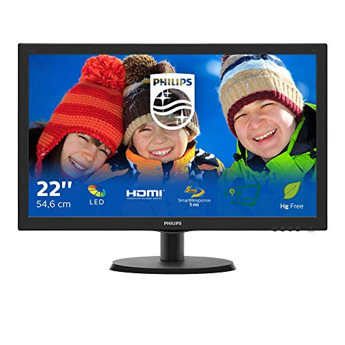 Philips Monitor 223V5LHSB2 Monitor per PC Desktop 22  LED, Full HD, 1920 x 1080, 5 ms, HDMI, VGA, Attacco VESA, Nero