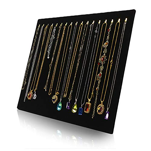 Hotrose Black Velvet Necklace Chain Stand Jewellery Holder Shop Display Bust Set Tall