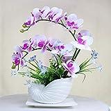 Artificiale piantina Finta con Vaso Fiori artificiali dell'orchidea con vaso Pianta finta con pentola Phalaenopsis Bonsai per soggiorno Centerpieces Disposizioni Decorazione Artificiali Bonsai Arredam