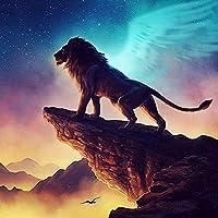 漫画のライオン -大人のためのDIY5Dダイヤモンドペインティング絵画キットフルドリルラインストーン貼り付けアートクラフトダ家の装飾モザイクキッズなギフト40X50cm