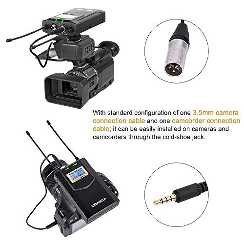 Comica CVM-WM100 Plus UHF 48-Channel Wireless Dual Lavalier Microphone System for Canon Nikon Sony Panasonic DSLR Camera, XLR Camcorder & Smartphone (2TX+1RX)