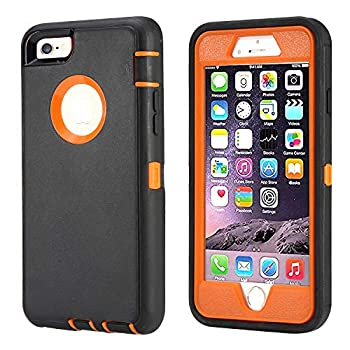Annymall Case Compatible for iPhone 8 & iPhone 7 Heavy Duty [with Kickstand] [Built-in Screen Protector] Tough 4 in1 Rugged Shorkproof Cover for Apple iPhone 7 / iPhone 8  Orange