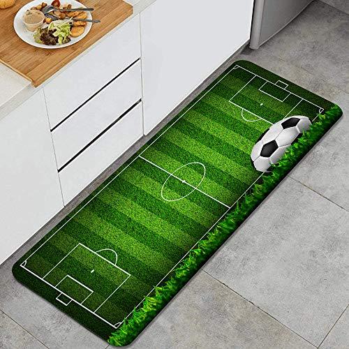 GEEVOSUN Zona de Juegos de fútbol de Campo de Hierba Verde con la Estrategia de Rayas de Esquema de Pelota Alfombrillas de Cocina Antideslizantes Felpudo Lavable Juego de Alfombras de Microfibra