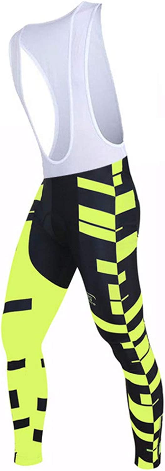 Mens Cycling Pants Mens Cycling Bib Tights Thermal Legging Long Pants Winter Padded Cold Wear for Casual Outdoor and Multi Sports (color   Yellow, Size   M)