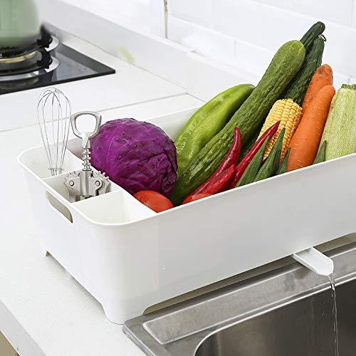 JIANGQIAO Escurridor grande para platos de cocina, escurridor, utensilios de cocina, cubiertos y escurridor, organizador de cocina (color: rosa)