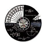 WWSC Reloj De Pared De Vinilo Matemáticas Fórmula Relojes 12 Pulgadas Retro Decoración Nostálgica De Regalo Adecuado para El Hogar Tienda Bar Silencio - Reloj Seguro B