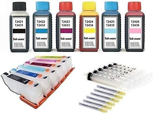 Wiederbefüllbare Auto Reset Patronen wie T2431-2436 / T24 XL - 6 Patronen mit 600 ml Ink-Mate Tinte für Expression Photo XP-55, XP-750, XP-760, XP-850, XP-860, XP-950, XP-960, XP-970