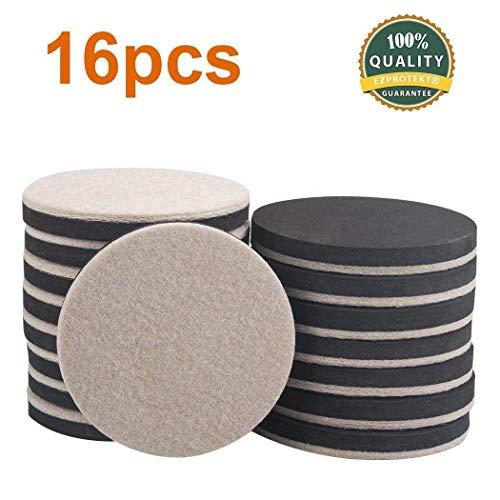 Ezprotekt 8,9 cm beige rund Möbelgleiter Möbel und Filz Pads Stuhl Bein Bodenschoner für Teppich, Hartholz und harte Oberfläche, Set von 16