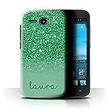 Personalisiert Hülle Für Huawei Ascend Y600 Individuell Glitter Effekt Grün Design Transparent Ultra Dünn Klar Hart Schutz Handyhülle Case