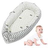AOLVO Riduttore Lettino Baby Nest Pod Riduttore Lettino Neonato Antisoffoco Riduttore per Letto Culla Multifunzionale Imita Grembo di Madri 100% Cotone,per Bimbi 0-24 Mesi,80x50cm,Grigio