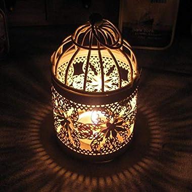Iusun Romantic Hollow Hanging Bird Cage Candle Holder Candlestick Lantern Bridal Wedding Xmas Party Decor (Color: White, Pattern:Random)
