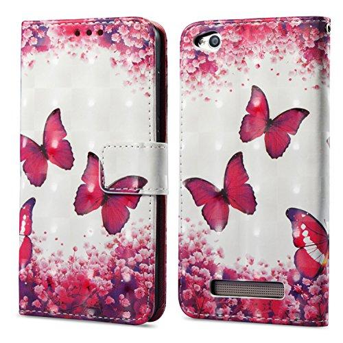 Funluna 3D Brieftasche Lederhülle für Xiaomi Redmi 4A, Schmetterling