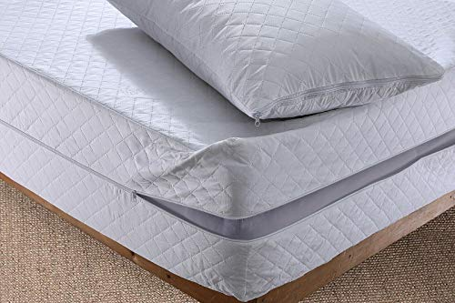 MIA we dress your home Quilted Mattress Cover Full Zip Encasement King Size Bed 30 CM Deep Pocket Matress Zipped Protection Anti Bug Dust Mite Non-Allergenic