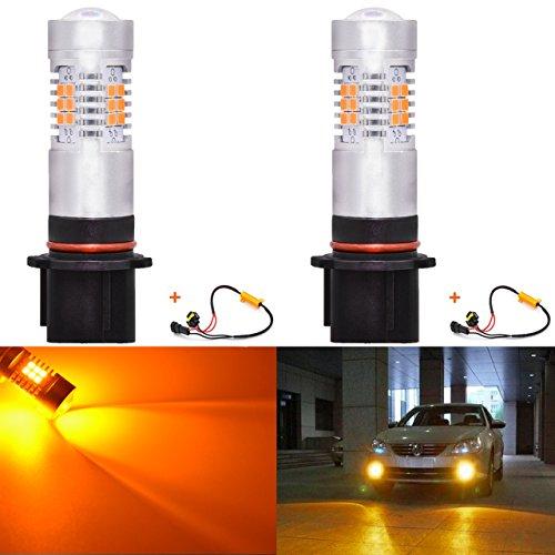 KATUR P13W LED Brouillard Daytime Lights Voiture DRL Driving Lampe 21SMD LED Voiture Conduite Feux diurnes Orange 80W avec Canbus Décodeur sans Erreur 50W 8ohm Résistances De Charge Harnais
