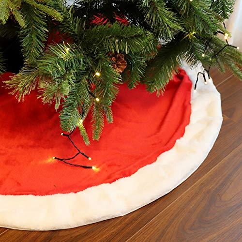 SALCAR Gonna per Albero di Natale in Rosso e Bianco, Pelliccia Sintetica di Lusso da 80 cm per Natale, Feste, Matrimoni, Decorazioni Natalizie