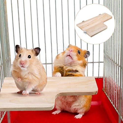 Sheens Plataforma de hámster, Juguete de trampolín de Animales pequeños en Forma de L Salto de Madera Escalada Zona de Juegos para ratón Ardilla de Chinchilla Jerbo Enano