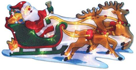 The Benross Christmas Workshop - Decorazione natalizia con illuminazione a LED, motivo: Babbo Natale sulla slitta, su lamina metallica