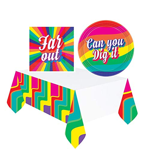 Fancy Dress VIP Good Vibes 60's 70's Party Napkins, Plates And Table Cover Set