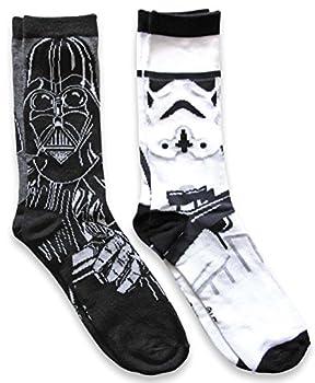 Hyp Star Wars Darth Vader/Stormtrooper Men s Casual Crew Socks 2 Pair Pack Shoe Size 6-12