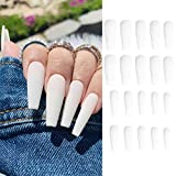 24 Pcs Press on Nails, Luvehandicraft Long Matte Fake Nails Coffin, False Nails with Glue for Women and Girls (White)