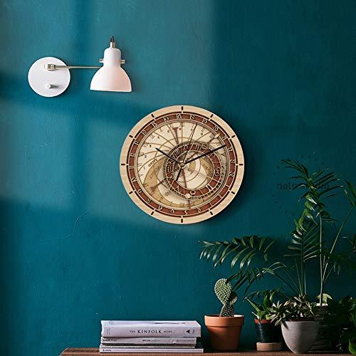ChenTeShangMao Reloj De Pared - Madera Original Ronda Creativa Retro Praga Constelación Doce Astronómico Reloj De Pared, Silencio/Hora Precisa, 30cm De Diámetro / 40CM Moda (Size : 30CM)