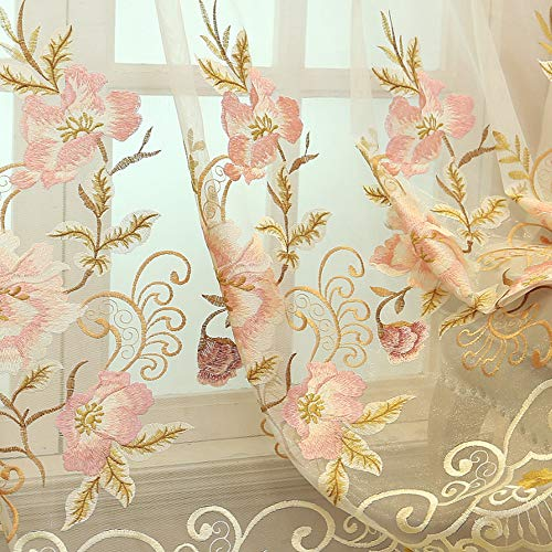 ZZCZZC 1 Set (2 Panels) European Luxury Pink Flower Embroidered Sheer Curtains Rod Pocket Top Light Filtering Tulle Voile Curtains Organdy Bay Window Drape for Villa Balcony W52 inch x L84 inch